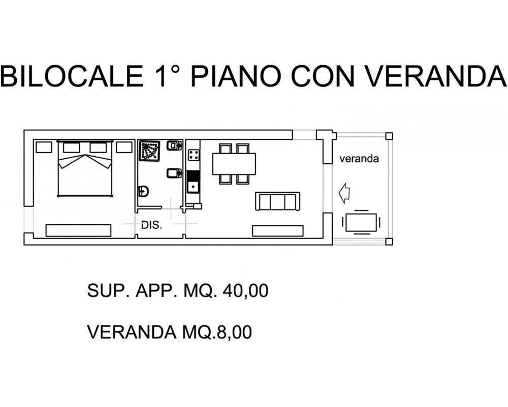 accommodation bilocale primo piano con veranda 121v scarlino tuscany italy. Black Bedroom Furniture Sets. Home Design Ideas
